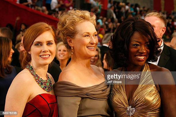Actresses Amy Adams Meryl Streep and Viola Davis arrives at the 81st Annual Academy Awards held at The Kodak Theatre on February 22 2009 in Hollywood...