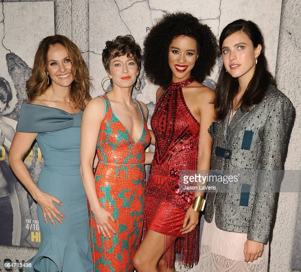 Actresses Amy Brenneman Carrie Coon Jasmin Savoy Brown and Margaret Qualley attend the season 3 premiere of 'The Leftovers' at Avalon Hollywood on...