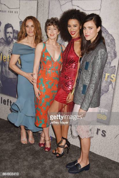 Actresses Amy Brenneman Carrie Coon Jasmin SavoyBrown and Margaret Qualley attend the premiere of HBO's 'The Leftovers' Season 3 at Avalon Hollywood...