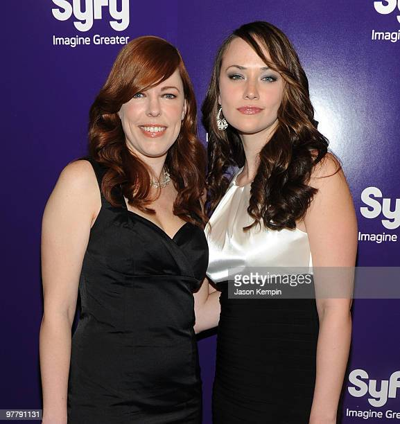 Actresses Amy Bruni and Kris Williams attend the 2010 Syfy Upfront party at The Museum of Modern Art on March 16 2010 in New York City