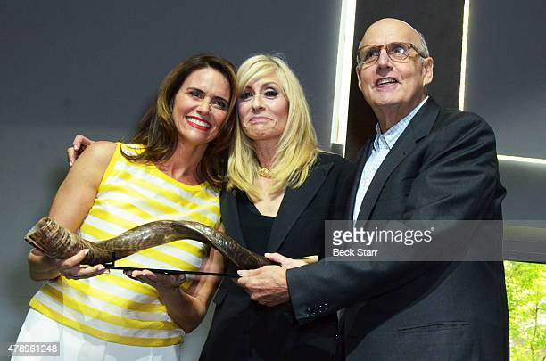 Actresses Amy Landecker Judith Light and actor Jeffrey Tambor attend 2015 Beth Chayim Chadashim Annual Awards Brunch honoring Jeffrey Tambor for his...