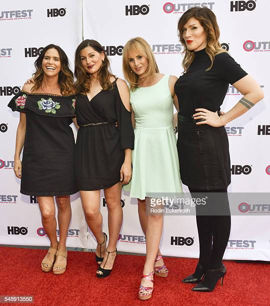 """Actresses Amy Landecker, Trace Lysette, artist Zackary Drucker, and classical pianist Our Lady J arrive at the Amazon Original Series """"Transparent""""..."""