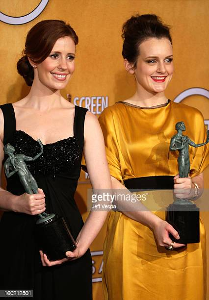 Actresses Amy Nutall and Sophie McSheara pose in the press room during the 19th Annual Screen Actors Guild Awards held at The Shrine Auditorium on...