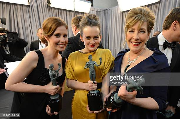 Actresses Amy Nuttall Sophie McShera and Phyllis Logan attend the 19th Annual Screen Actors Guild Awards at The Shrine Auditorium on January 27 2013...