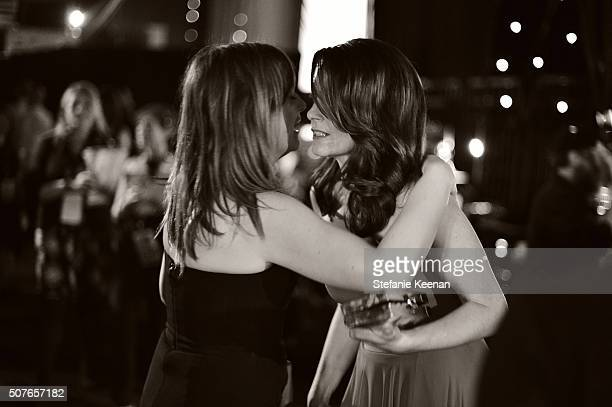 Image has been shot in black and white Color version not available LOS ANGELES CA JANUARY 30 Actresses Amy Poehler and Tina Fey attend The 22nd...