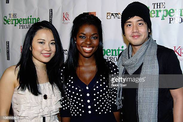 Actresses Amy Rider and Camille Winbush and actor Allen Evangelista of Secret LIfe of an American Teenager arrive to The Serpentine Project's fight...