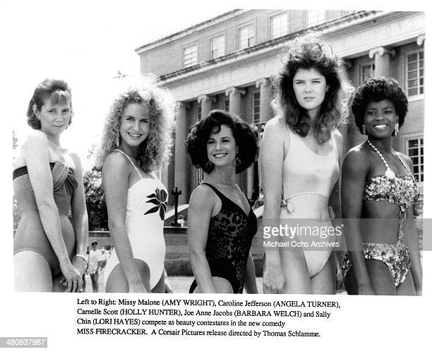 Actresses Amy Wright Angela Turner Holly Hunter Barbara Welch and Lori Hayes in a scene from the movie Miss Firecracker circa 1989