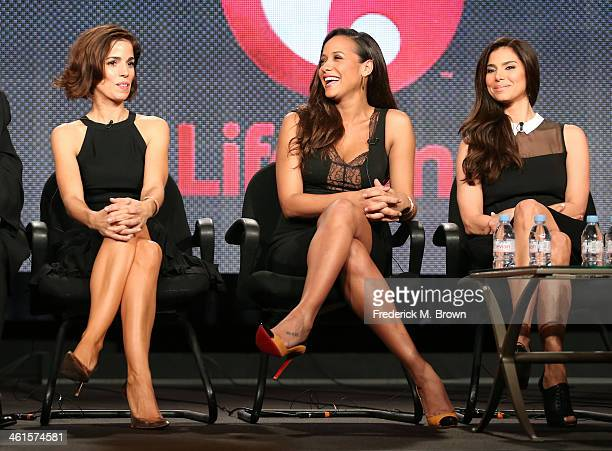 Actresses Ana Ortiz Dania Ramirez and Roselyn Sanchez speaks onstage during the 'Lifetime Devious Maids' panel discussion at the Lifetime/AE Network'...