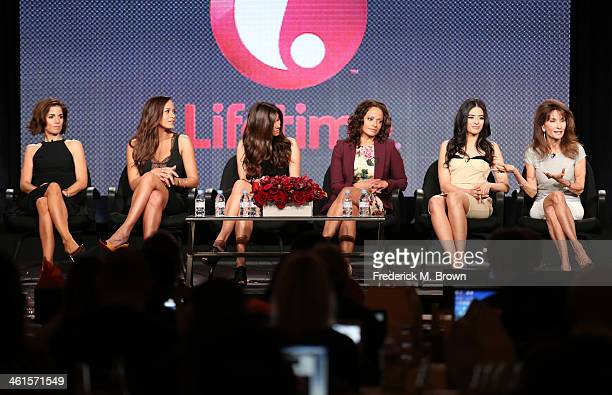 Actresses Ana Ortiz Dania Ramirez Roselyn Sanchez Judy Reyes Edy Ganem and Susan Lucci speak onstage during the 'Lifetime Devious Maids' panel...