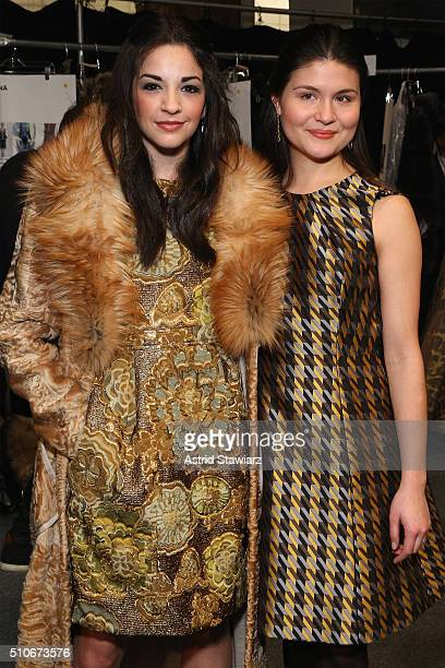 Actresses Ana Villafane and Phillipa Soo poses backstage at the Dennis Basso Fall 2016 fashion show during New York Fashion Week The Shows at The Arc...