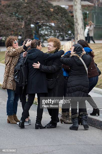 Actresses Anabel Alonso Alicia Borrachero and Beatriz Carvajal attend the funeral service for actress Amparo Baro at 'La Almudena' cemetery on...