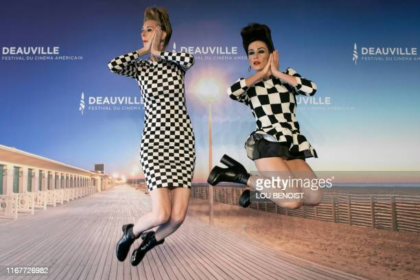 TOPSHOT US actresses and directors Dawn Luebbe and Jocelyn DeBoer pose during a photocall to present the film Greener Grass during the 45th US Film...