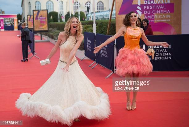 US actresses and directors Dawn Luebbe and Jocelyn DeBoer pose on the red carpet as part of the 45th US Film Festival in Deauville Normandy on...
