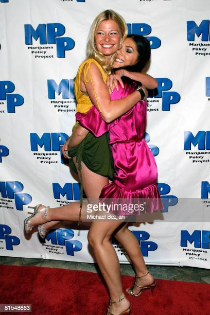 Actresses Andrea Brooks and Adrianne Curry pose at the Marijuana Policy Project's 3rd Annual Party and Fundraiser on June 12 2008 at the Playboy...