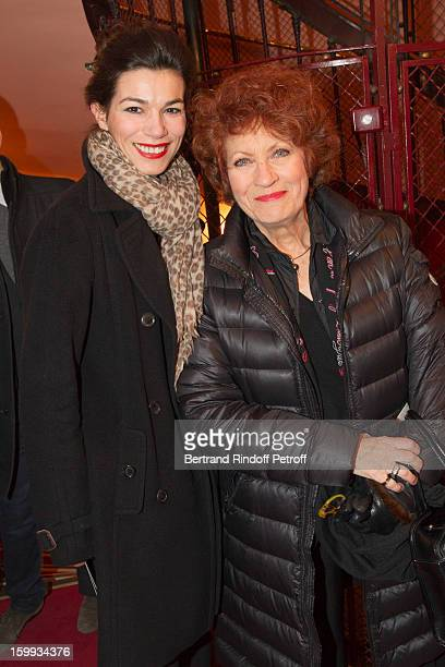 Actresses Andrea Ferreol and Sophie Carrier who both currently perform on stage in 'La Veritable Histoire de Maria Callas' at a Paris theater attend...
