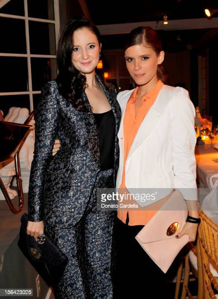 Actresses Andrea Riseborough and Kate Mara attend the Mulberry SS13 Dinner at Chateau Marmont on November 14 2012 in Los Angeles California