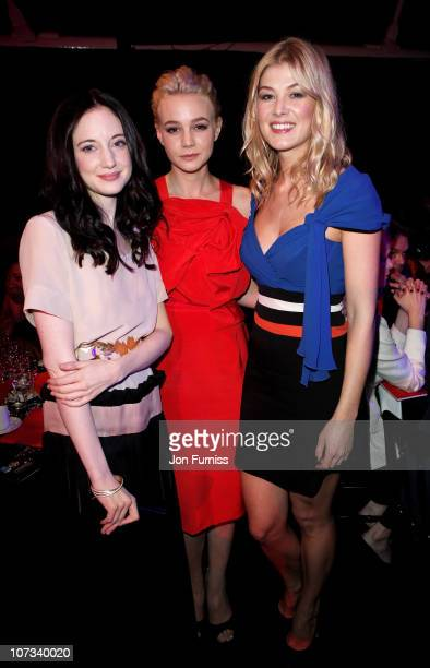 Actresses Andrea Riseborough Carey Mulligan and Rosamund Pike attend the Moet British Independent Film Awards at Old Billingsgate Market on December...