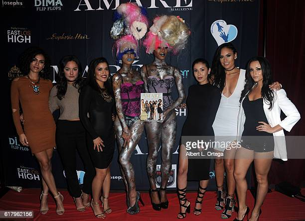 Actresses Andrea Sixtos Alex Rodriguez Alicia Sixtos Ashley Campuzano Jes Meza and Danielle Vega attend the Amare Magazine 2nd Issue Party featuring...