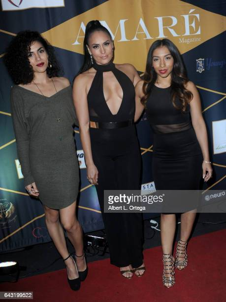 Actresses Andrea Sixtos Jes Meza and Leticia Perez attend the Amare Magazine's Winter Soiree 3rd Issue Launch held at EnVy Lounge on February 19 2017...