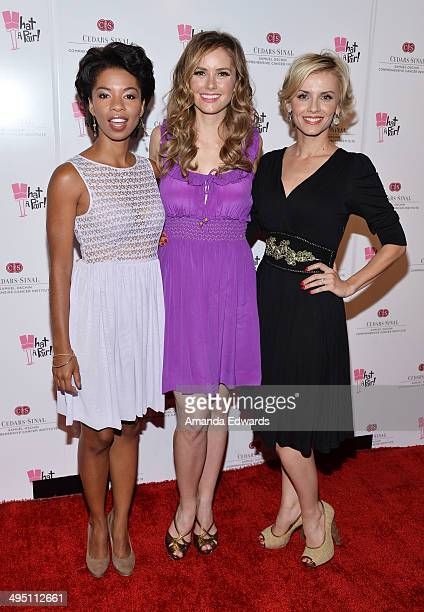 Actresses Angel Parker Brianna Brown and Sara Wells arrive at the What A Pair Benefit Concert to support breast cancer research and education...
