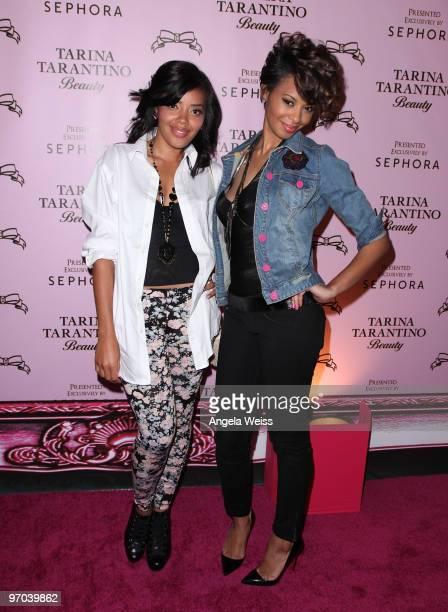 Actresses Angela and Vanessa Simmons attend the launch of Tarina Tarantino's new cosmetics collection 'Tarina Tarantino Beauty' presented exclusively...
