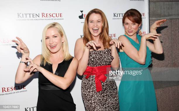 Actresses Angela Kinsey Jenna Fischer and Ellie Kemper attend the 3rd annual Fur Ball at Skirball Cultural Center on September 11 2010 in Los Angeles...