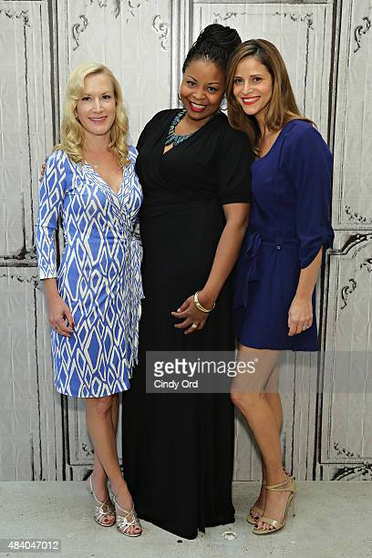 Actresses Angela Kinsey Tymberlee Hill and Andrea Savage attend AOL Build Presents 'The Hotwives of Las Vegas' at AOL Studios on August 14 2015 in...