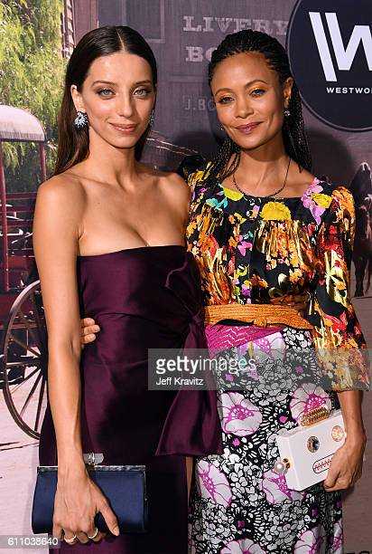 Actresses Angela Sarafyan and Thandie Newton attend the premiere of HBO's 'Westworld' at TCL Chinese Theatre on September 28 2016 in Hollywood...