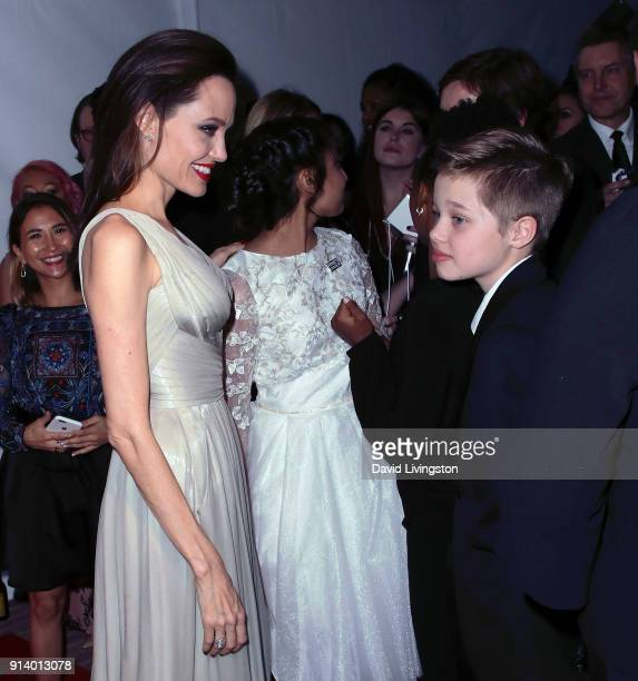 Actresses Angelina Jolie and Saara Chaudry and Shiloh Nouvel JoliePitt attend the 45th Annual Annie Awards at Royce Hall on February 3 2018 in Los...