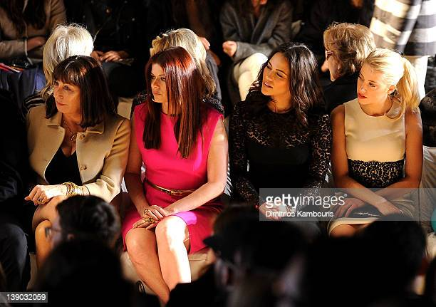 Actresses Anjelica Houston Debra Messing Paula Patton and Amber Heard attend the Michael Kors Fall 2012 fashion show during MercedesBenz Fashion Week...