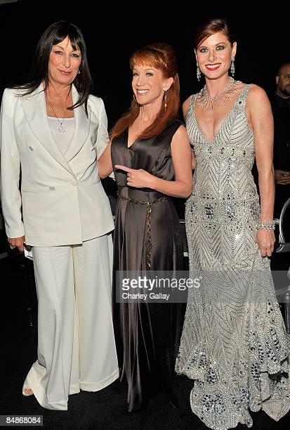 Actresses Anjelica Huston Kathy Griffin and Debra Messing backstage during the 11th annual Costume Designers Guild Awards held at the Four Seasons...