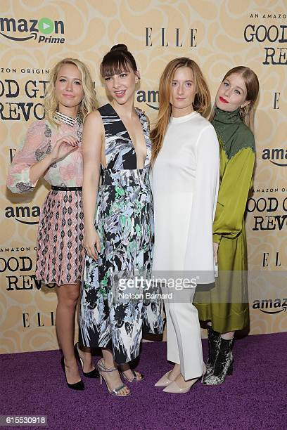 Actresses Anna Camp Erin Darke Grace Gummer and Genevieve Angelson attend the 'Good Girls Revolt' New York Screening at the Joseph Urban Theater at...