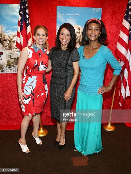 Actresses Anna Chlumsky Julia LouisDreyfus and Sufe Bradshaw attend HBO's Veep FYC Panel at Paramount Theater on the Paramount Studios lot on June 10...