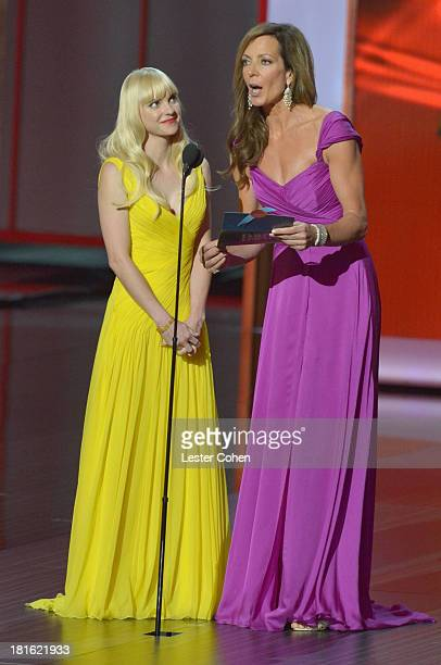 Actresses Anna Faris and Allison Janney speak onstage during the 65th Annual Primetime Emmy Awards held at Nokia Theatre LA Live on September 22 2013...