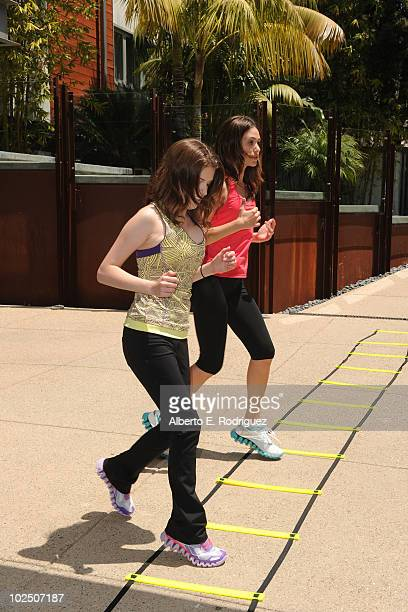 Actresses Anna Kendrick and Emmy Rossum attend the Reebok Women's Fitness event on June 16 2010 in Los Angeles California
