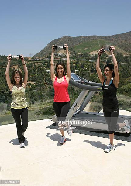 Actresses Anna Kendrick Emmy Rossum and Ashlee SimpsonWentz attend the Reebok Women's Fitness event on June 16 2010 in Los Angeles California