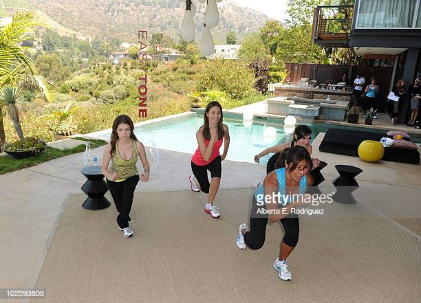 Actresses Anna Kendrick Emmy Rossum fitness trainer Yumi Lee and actress/singer Ashlee SimpsonWentz attend the Reebok Women's Fitness event on June...