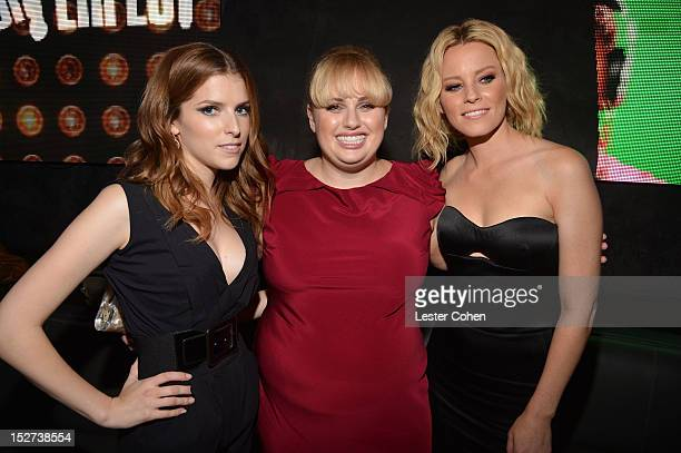Actresses Anna Kendrick Rebel Wilson and actress/producer Elizabeth Banks attend the Pitch Perfect Los Angeles premiere after party held at Lush on...