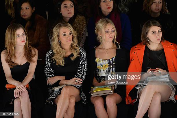 Actresses Anna Kendrick singer Carrie Underwood AnnaSophia Robb and Zosia Mamet attend Rebecca Minkoff fashion show during MercedesBenz Fashion Week...