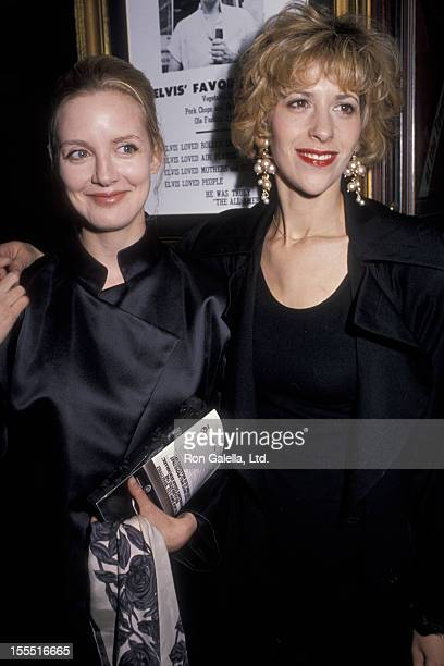 Actresses Anna Levine and Ellen Greene attend the opening party for Sex Drugs and Rock N Roll on February 8 1990 at the Hard Rock Cafe in New York...