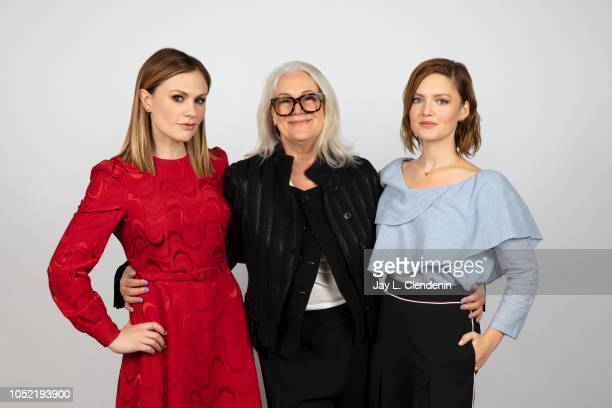 Actresses Anna Paquin director Annabel Jankel and Holliday Grainger from 'Tell It To The Bees' are photographed for Los Angeles Times on September 10...