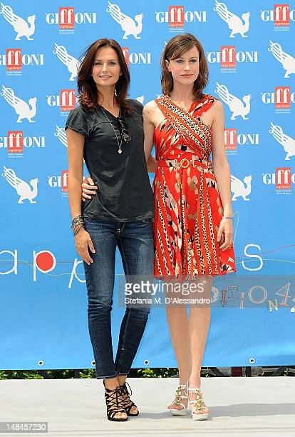 Actresses Anna Safroncik and Giorgia Wurth attend 2012 Giffoni Film Festival Photocall on July 17 2012 in Giffoni Valle Piana Italy
