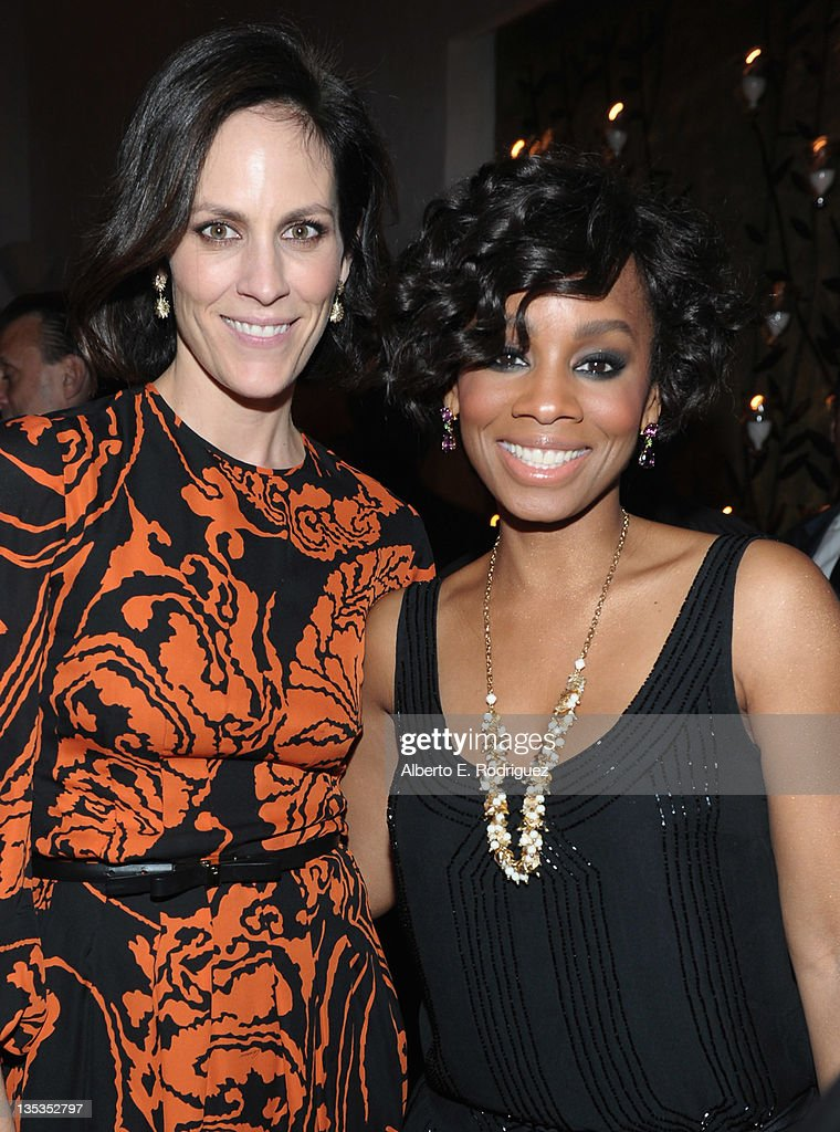 Actresses Annabeth Gish and Anika Noni Rose attend A&E's premiere party event for Stephen King's 'Bag of Bones' at Fig & Olive Melrose Place on December 8, 2011 in West Hollywood, California.