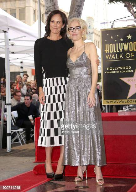 Actresses Annabeth Gish and Gillian Anderson attend the ceremony honoring Gillian Anderson with a Star on The Hollywood Walk of Fame on January 8...