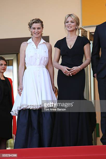 Actresses Anne Consigny and Virginie Efira attend a screening of 'Elle' at the annual 69th Cannes Film Festival at Palais des Festivals on May 21...