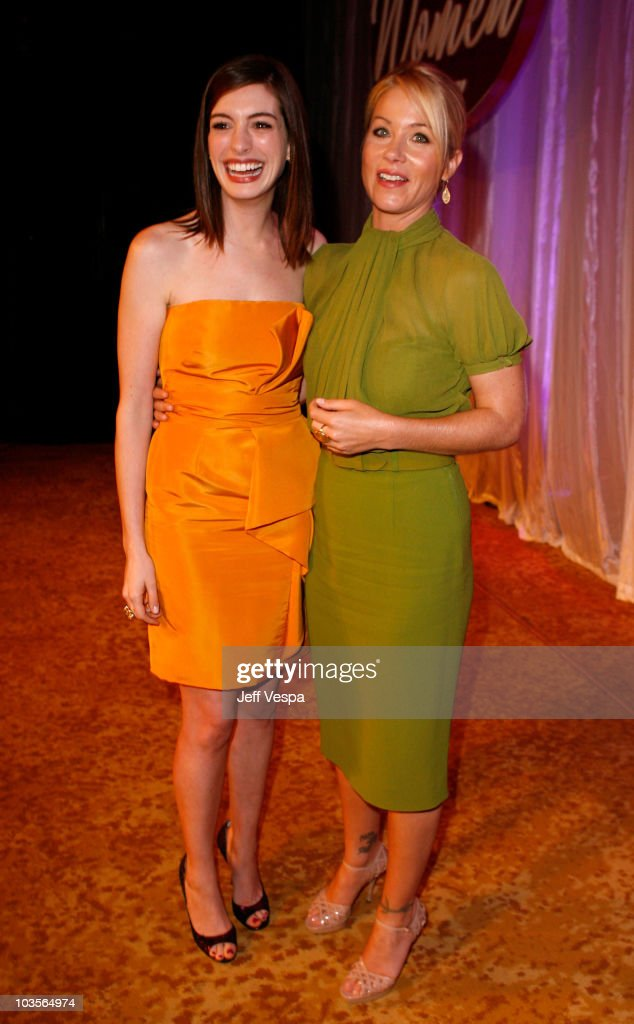 Actresses Anne Hathaway (L) and Christina Applegate attend Variety's 1st Annual Power of Women Luncheon at the Beverly Wilshire Hotel on September 24, 2009 in Beverly Hills, California.