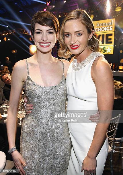 Actresses Anne Hathaway and Emily Blunt attend the 18th Annual Critics' Choice Movie Awards held at Barker Hangar on January 10 2013 in Santa Monica...