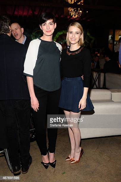 Actresses Anne Hathaway and Emma Roberts attend Hollywood Stands Up To Cancer Event with contributors American Cancer Society and Bristol Myers...