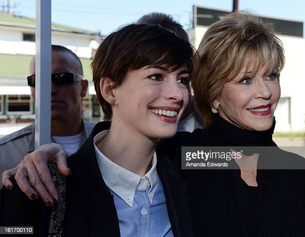 Actresses Anne Hathaway and Jane Fonda help kickoff One Billion Rising on February 14 2013 in West Hollywood California