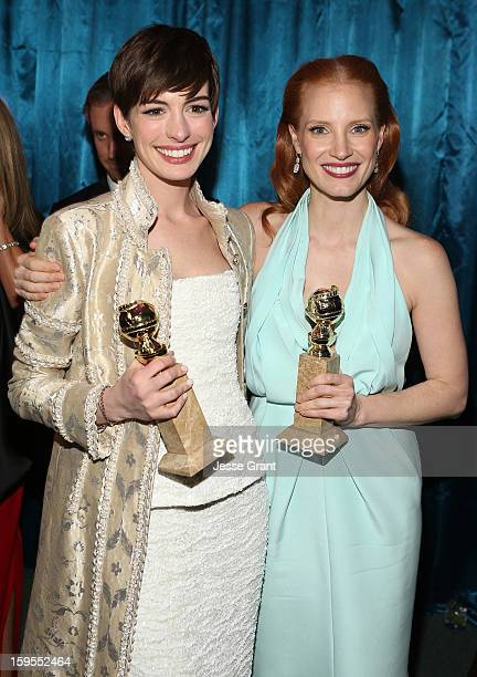 Actresses Anne Hathaway and Jessica Chastain attend the NBCUniversal Golden Globes viewing and after party held at The Beverly Hilton Hotel on...